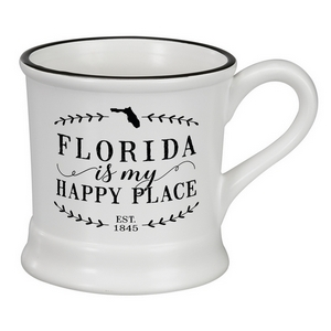 "White ceramic mug that says ""Florida is my Happy Place"" and hold 14 ounces."