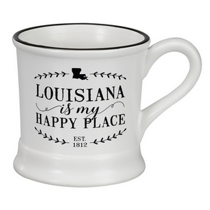 "White ceramic mug that says ""Louisiana is my Happy Place"" and hold 14 ounces."