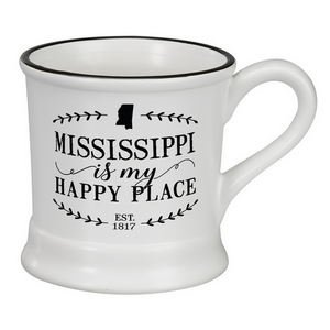 "White ceramic mug that says ""Mississippi is my Happy Place"" and hold 14 ounces."