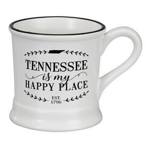"White ceramic mug that says ""Tennessee is my Happy Place"" and hold 14 ounces."
