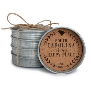 "Four piece mason jar lid coaster set featuring the ""South Carolina is my Happy Place"" painted on each. Approximately 4"" in diameter."
