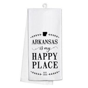 "White tea towel featuring ""Arkansas is my Happy Place"" printed on both sides. 100% cotton. Measures 25"" x 19"" when open."
