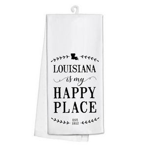 "White tea towel featuring ""Louisiana is my Happy Place"" printed on both sides. 100% cotton. Measures 25"" x 19"" when open."