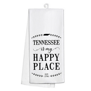 "White tea towel featuring ""Tennessee is my Happy Place"" printed on both sides. 100% cotton. Measures 25"" x 19"" when open."