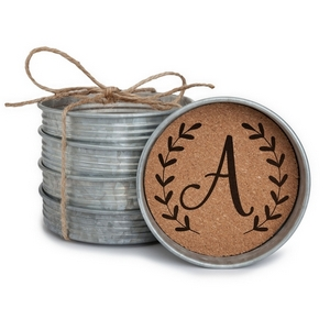 "Four piece mason jar lid coaster set featuring the script initial 'A' painted on each. Approximately 4"" in diameter."