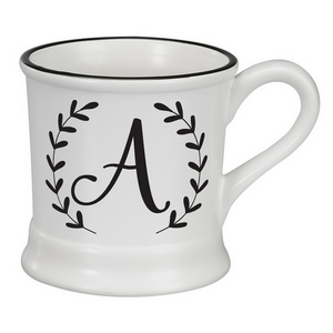 White ceramic mug featuring a script 'A' initial and hold 14 ounces.