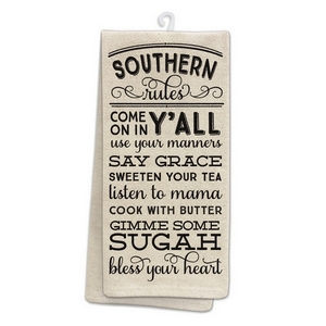 "Tan tea towel featuring ""Southern Rules"" printed on both sides. 100% cotton. Measures 25"" x 19"" when open."