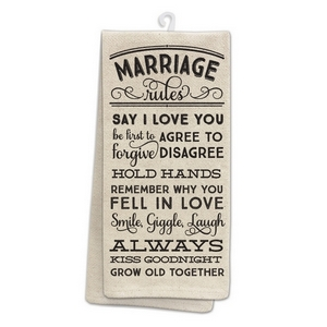 "Tan tea towel featuring ""Marriage Rules"" printed on both sides. 100% cotton. Measures 25"" x 19"" when open."