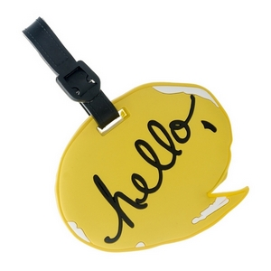 "Rubber luggage tag with name and address card, that says ""Hello."""