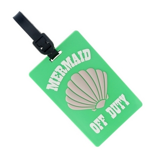 "Rubber luggage tag with name and address card, that says ""Mermaid Off Duty."""