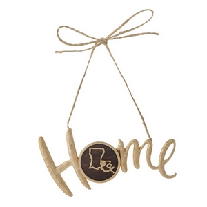 "Hammered gold tone ""Home"" on jute hanging cord featuring the state of Louisiana. Can be used multiple ways - ornaments, gift tags, craft projects. Approximately 4"" in width."