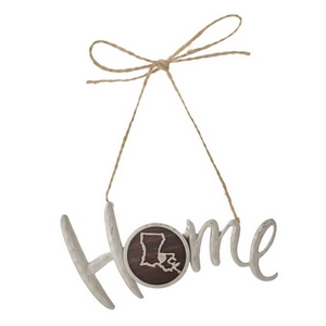 "Hammered silver tone ""Home"" on jute hanging cord featuring the state of Louisiana. Can be used multiple ways - ornaments, gift tags, craft projects. Approximately 4"" in width."