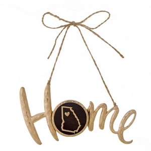 "Hammered gold tone ""Home"" on jute hanging cord featuring the state of Georgia. Can be used multiple ways - ornaments, gift tags, craft projects. Approximately 4"" in width."