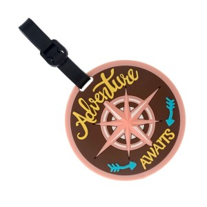 "Rubber luggage tag with name and address card that says ""Adventure Awaits."""