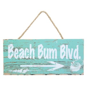 "Wooden ""Beach Bum Blvd"" wall hanging with a jute rope. Approximately 3.5"" x 8"" in size."
