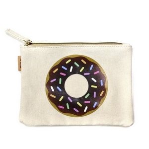 "Canvas zipper pouch with a donut on the front. 100% cotton. Measures 7"" x 6"" in size."
