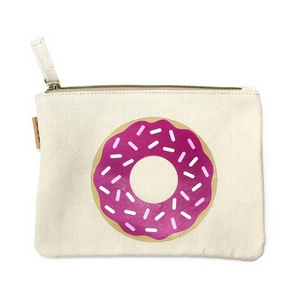 """Canvas zipper pouch with a pink donut on the front. 100% cotton. Measures 7"""" x 6"""" in size."""