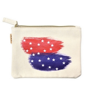 "Canvas zipper pouch with red, white, and blue on the front. 100% cotton. Measures 7"" x 6"" in size."