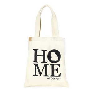 "Canvas tote bag with an inside pocket and ""Home of Georgia"" on the front. 100% cotton. Measures approximately 17"" x 14"" in size with an 11"" handle drop."