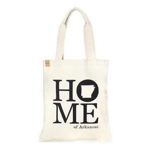 "Canvas tote bag with an inside pocket and ""Home of Arkansas"" on the front. 100% cotton. Measures approximately 17"" x 14"" in size with an 11"" handle drop."