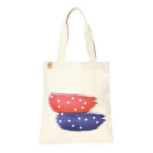 "Canvas tote bag with an inside pocket and red, white and blue on the front. 100% cotton. Measures approximately 17"" x 14"" in size with an 11"" handle drop."