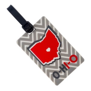 Rubber luggage tag with name and address card, with the state of Ohio.