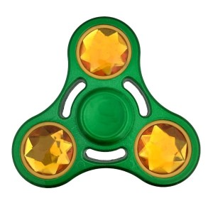 Green and yellow heavy metal fidget spinner. Packaged in a round tin can. Allows you to spin stress away, and can even help some people focus! Ceramic ball bearings allow for long spin times.