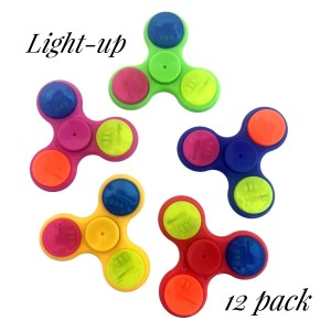 Light-Up spinner that is activated when spun. No switch needed. Allows you to spin stress away, and can even help some people focus! Ceramic ball bearings allow for long spin times. Pack of 12, assorted colors.