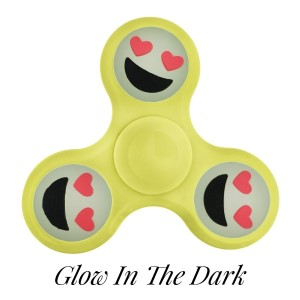 Yellow Glow in the Dark fidget spinner featuring a smiling face with heart shaped eyes emoji. Allows you to spin stress away, and can even help some people focus! Ceramic ball bearings allow for long spin times.