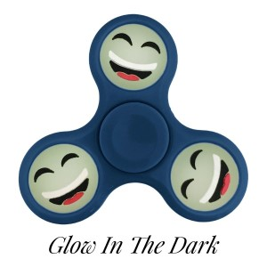 Blue Glow in the Dark fidget spinner featuring a laughing smiley face emoji. Allows you to spin stress away, and can even help some people focus! Ceramic ball bearings allow for long spin times.