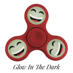 Red Glow in the Dark fidget spinner featuring a laughing smiley face emoji. Allows you to spin stress away, and can even help some people focus! Ceramic ball bearings allow for long spin times.