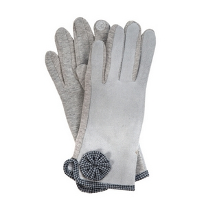 Gray 'smart gloves' with houndstooth trim.