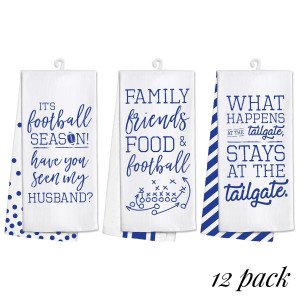 "Pack of 12, gameday towel set. This set includes four pieces each of three designs, are 100% cotton and measure 25"" x 19"" in size."