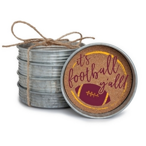 """Set of four, mason jar coasters printed with """"It's football y'all"""" with your favorite team colors. Each coaster measures 4"""" in diameter."""