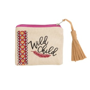 """Tan canvas zipper pouch with a tassel zipper pull and an embroidered design. Measures 5"""" x 4"""" in size."""