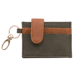 """Faux leather credit card and money holder with four card slots and an inside pocket for money and change. Wallet measures 4.5"""" x 3"""" in size."""