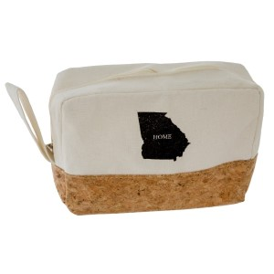 "Canvas and cork, zipper pouch with your ""Home"" state. Measures 8"" x 5.5"" in size."