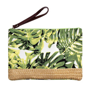 "Fully lined pouch with a top zip closure, a faux leather wrist strap, tropical print and straw accent. 80% polyester and 20% paper. Measures 11"" x 6.5"" in size."