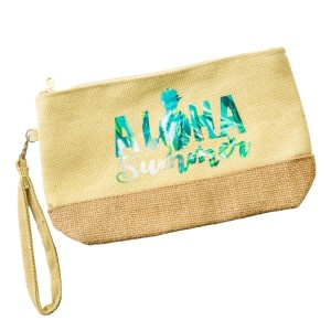 "Aloha Summer canvas and jute pouch with a top zip closure, a line inside, and a wrist strap. 55% cotton, 25% polyester and 20% jute. Measures 9"" x 5.5"" in size."