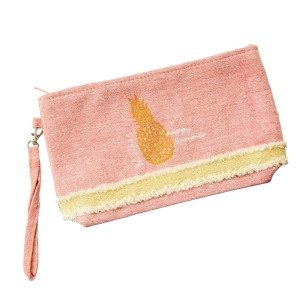 """Canvas zipper pouch with a glitter pineapple, a top zip closure, a line inside, and a wrist strap. 55% cotton and 45% polyester. Measures 10"""" x 6"""" in size."""