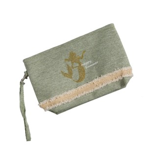 "Canvas zipper pouch with a glitter mermaid, a top zip closure, a line inside, and a wrist strap. 55% cotton and 45% polyester. Measures 10"" x 6"" in size."