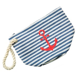 "Striped, anchor pouch with a lined inside, top zip closure, rope handle and a circular flat bottom. 95% paper straw and 5% cotton. Measures 10"" in width when flat and bottom is 8"" in diameter."