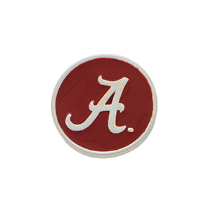 """Silver tone officially licensed University of Alabama snap charm stamped """"A"""". Snap jewelry collection."""