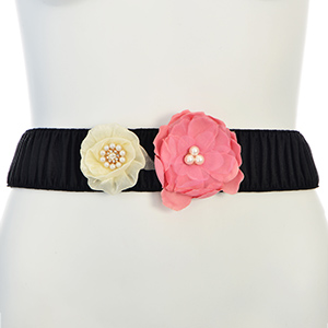 Black snap belt featuring a pink and ivory with faux pearl and rhinestone decor.