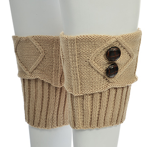 "9"" tan boot cuffs accented with four brown wooden buttons."