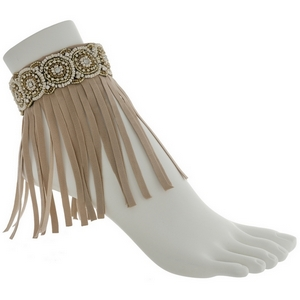 Set of two light brown boho fashion anklets featuring ivory and gold beading with fringe.