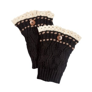 "7 1/2"" Black knit boot cuffs threaded with brown knit string and an ivory lace rimmed top."