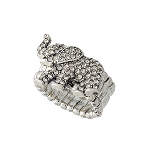 Silver tone stretch band ring featuring an elephant with crystal rhinestones.