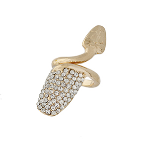 Gold tone nail ring with clear rhinestones. **This is a sized ring** Available in sizes 3, 4, & 5