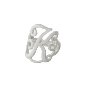 "Silver tone stretch ring featuring the initial ""K""."